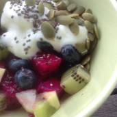 Red dragonfruit, kiwifruit & blueberries with Greek yogurt and a sprinkle of pumpkin seeds & chia