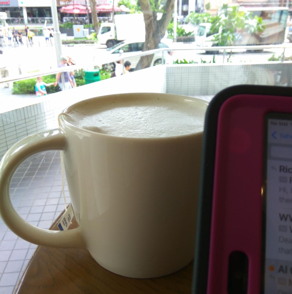 Enjoying a cup oftea