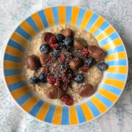 Steel cut oats topped with chestnuts, blueberries, dried cranberries & chia seeds