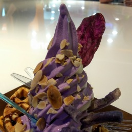 Purple potato & salted caramel soft serve with waffles & assorted goodies