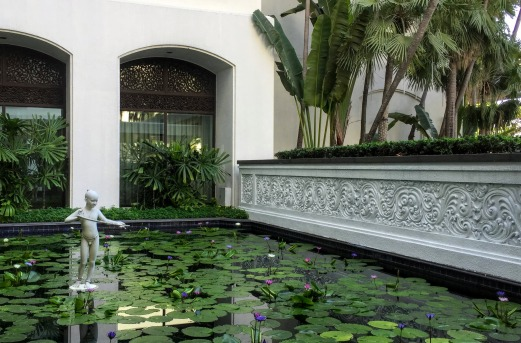 Lotus pond at the majestic Anantara Hotel, where we lunched at Biscotti.