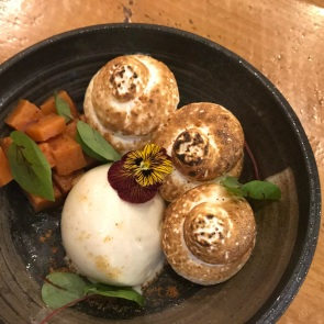 Peruvian burned butter ice cream, miso meringue, sweet potato (Pachamama)