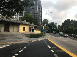 Crossing at the junction of Penang Road & Penang Lane