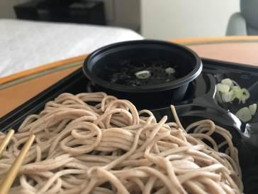 Cold soba noodles for breakfast.
